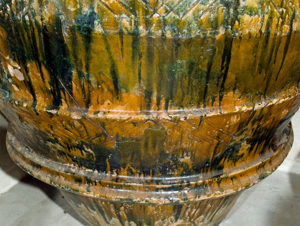 Rare and Very Large Glazed Terracotta Amphora from Imprunetta, Italy For Sale 3