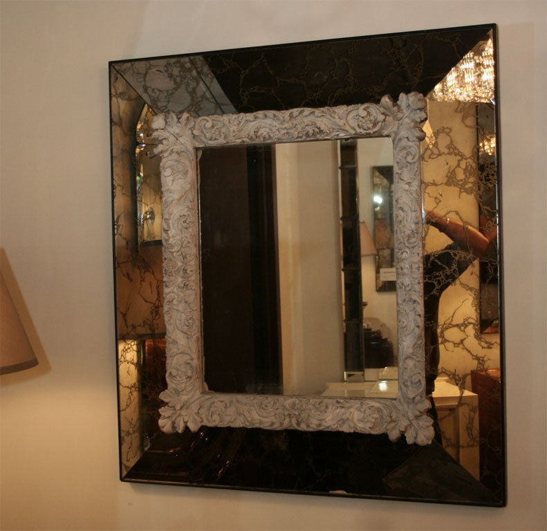 1940 S Venetian Style Mirror With Hand Cast Plaster Design