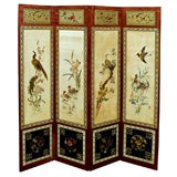Embroidered Silk Four Panel Export Screen Calligraphy