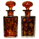Pair Of Antique Tortoise Glass Perfume Bottles