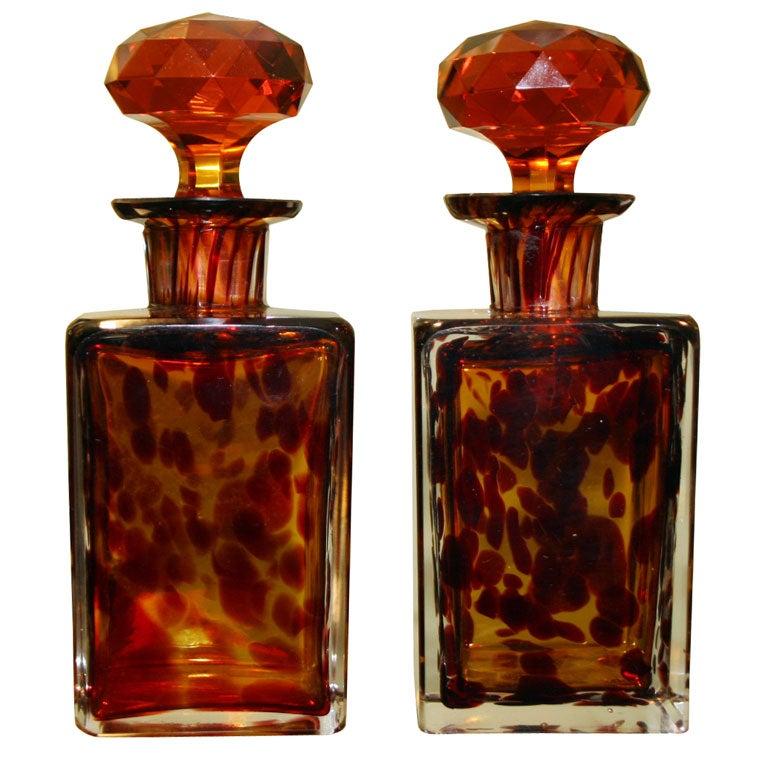 Antique Tortoise Glass Perfume Bottles