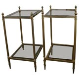 Pair of Mid-Century Brass & Glass End Tables