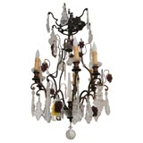 Grape Cluster Motif Iron and Crystal Chandelier