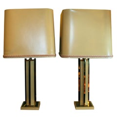 Pair of Mid-Century Modern Resin and Brass Table Lamps