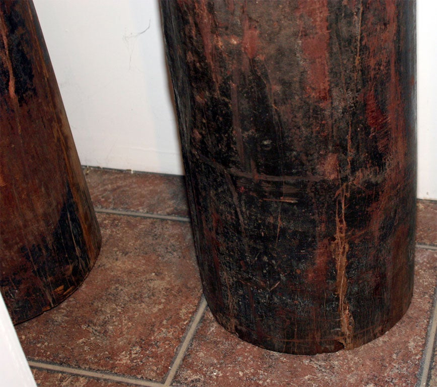 Set of Four Tall Carved Teak Pillars 3