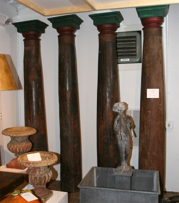 Set of Four Tall Carved Teak Pillars For Sale 1