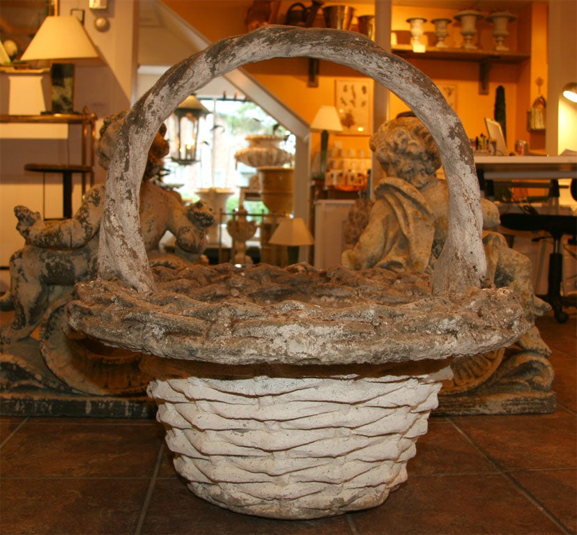 Cast Stone Basket Planter For Sale At 1stdibs