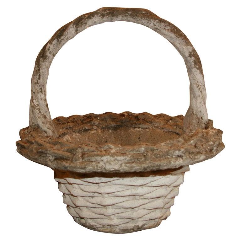 Cast Stone Basket Planter