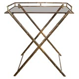 Faux Bamboo Butler Tray On Stand