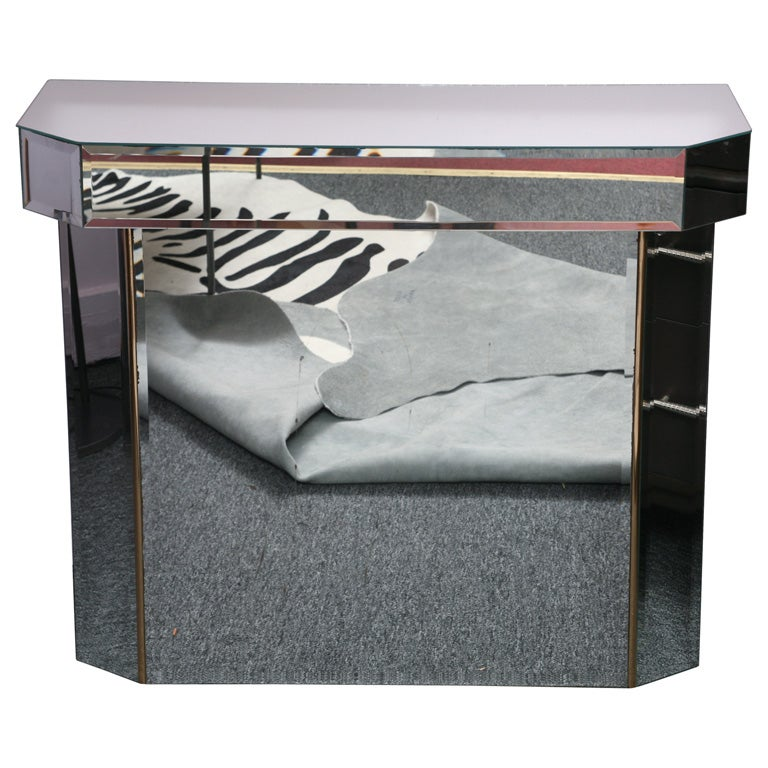 petite mirrored deco style hall console at 1stdibs. Black Bedroom Furniture Sets. Home Design Ideas