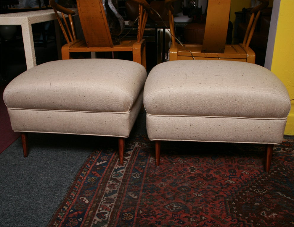 These footrests are substantial they can have a multiuse also as sitting around a low coffee table.They are elegant and undestated they will combine with your decor in a soft elegant manner