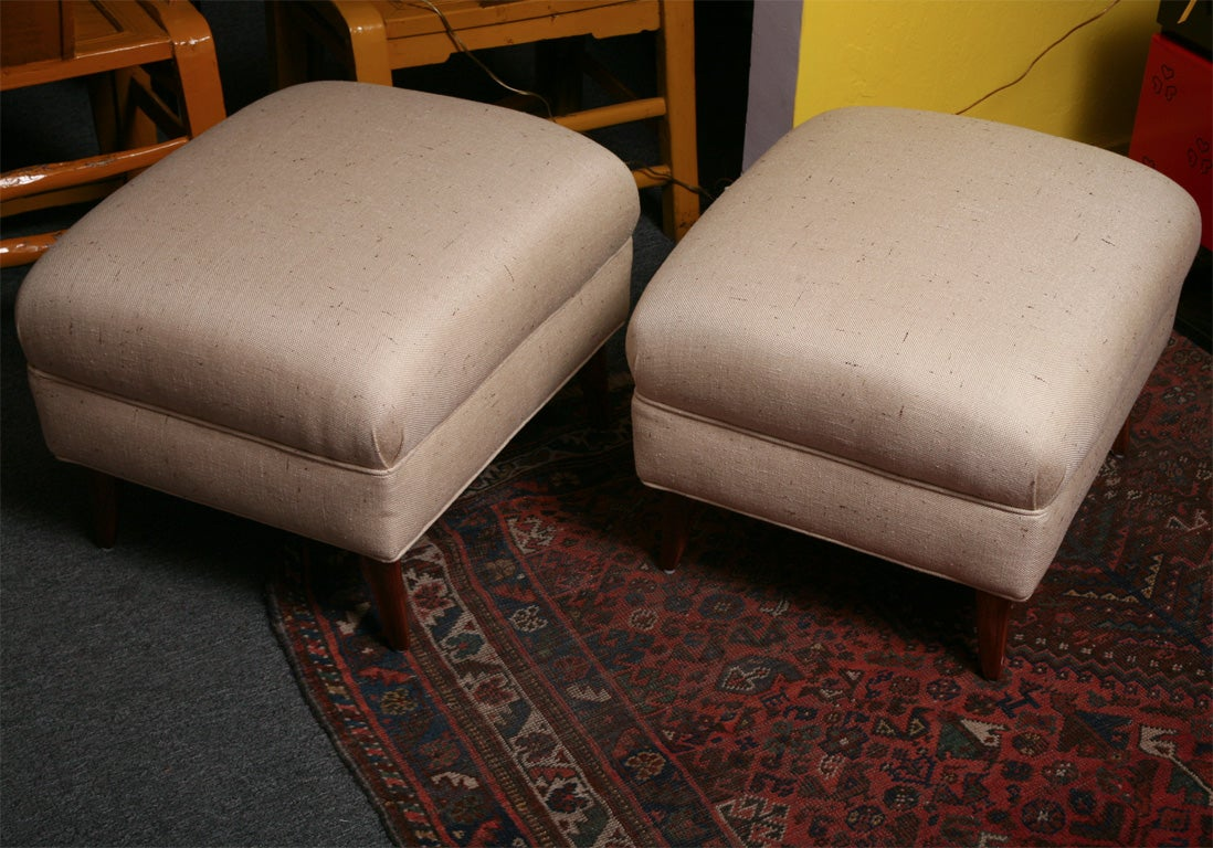 Upholstery Pair of Midcentury Ottomans, Recovered in Silk Shantung Fabric For Sale