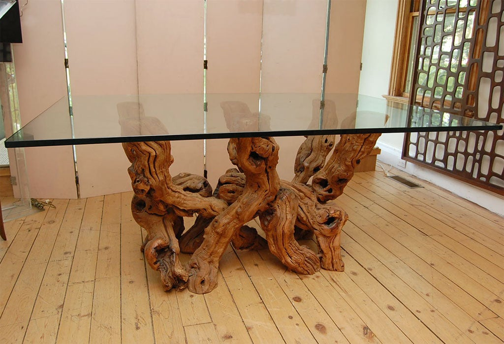 conceptual cypress wood dining table base w glass top at 1stdibs. Black Bedroom Furniture Sets. Home Design Ideas