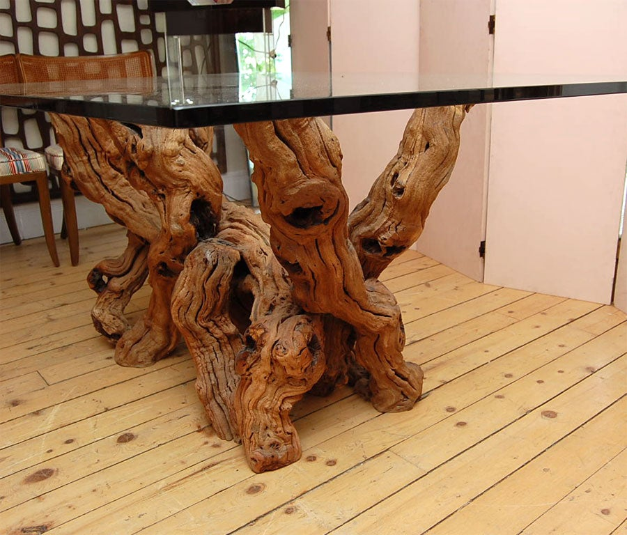 CONCEPTUAL CYPRESS WOOD DINING TABLE BASE W GLASS TOP At 1stdibs