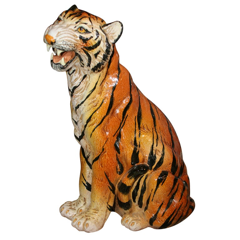 Ceramic Tiger Statue At 1stdibs