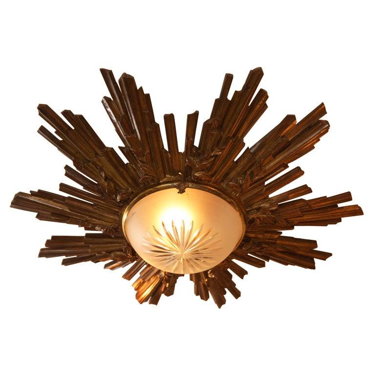 French Bronze Louis XVI Style Sunburst Ceiling Light at ...