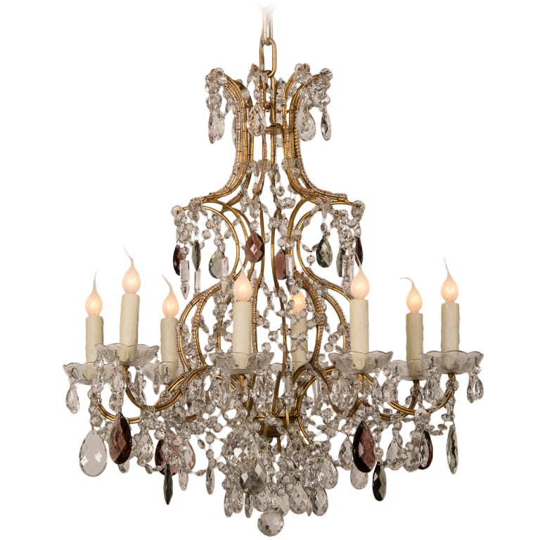 Gustavian Style Bronze And Crystal Eight Arm Chandelier