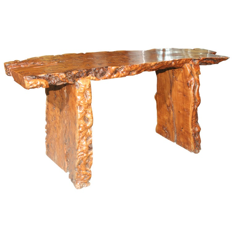 Chinese Natural Wood Free Form Country Bench Sofa Table At