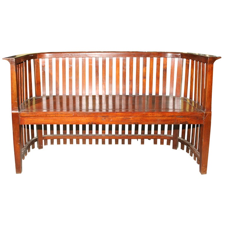 Indonesian Dutch Colonial Arts And Crafts Sofa Bench