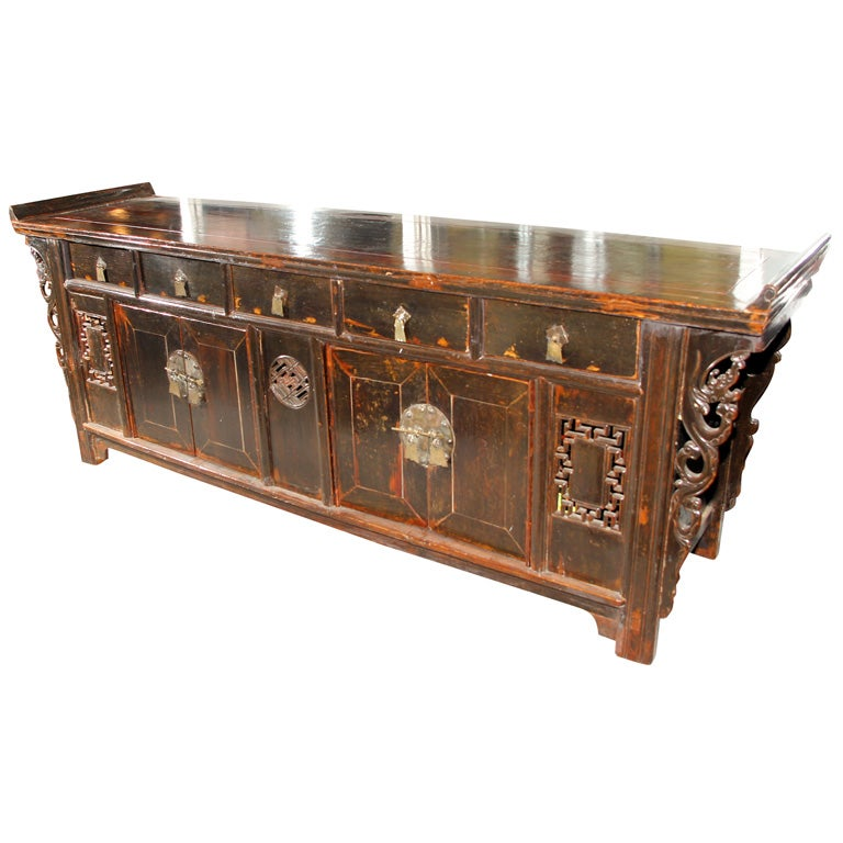 Chinese ca 1840 console buffet cabinet altar coffer for Asian console cabinet