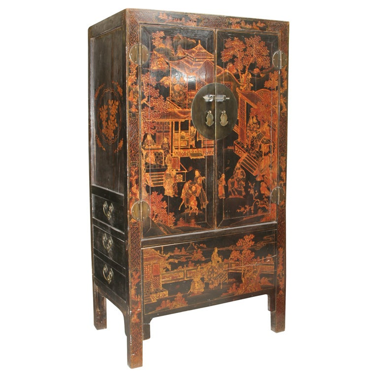 Chinese 19th Century Chinoiserie wedding cabinet armoire