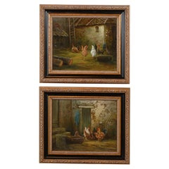 French 19th Century Bucolic Oil on Canvas Painting with Chickens and Roosters
