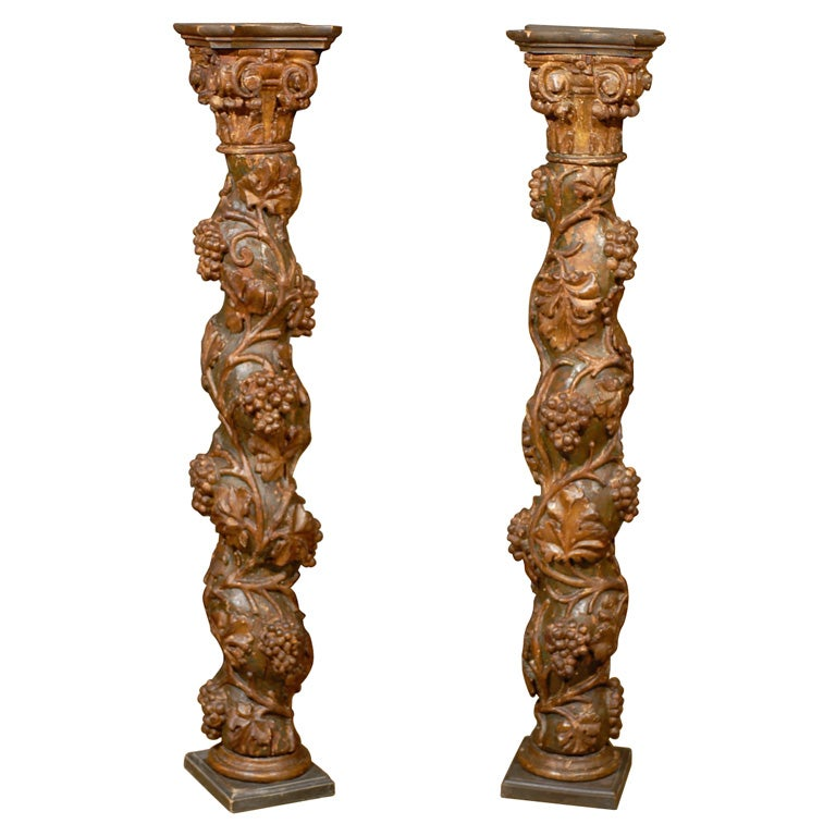 Pair of 18th Century French Carved and Painted Gilt Columns