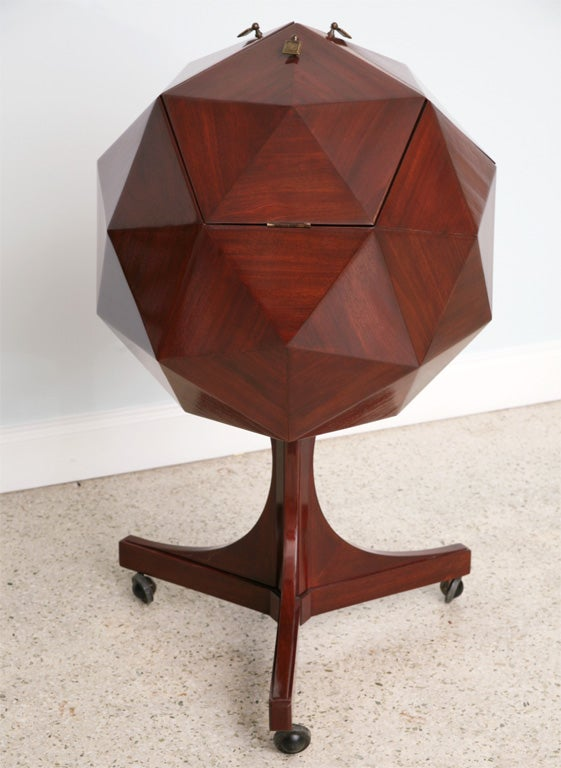 A Rare Multifaceted Mahogany Bar Cabinet attributed Ico Parisi image 2