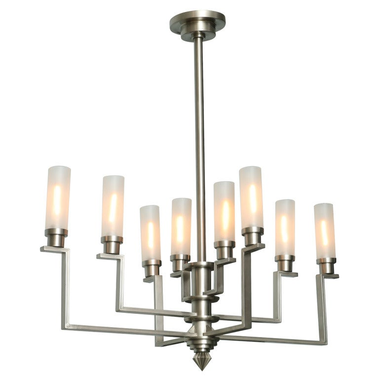 Fine French Art Deco Hand-Cut Steel and Glass Eight-Arm Chandelier, Jean Perzel