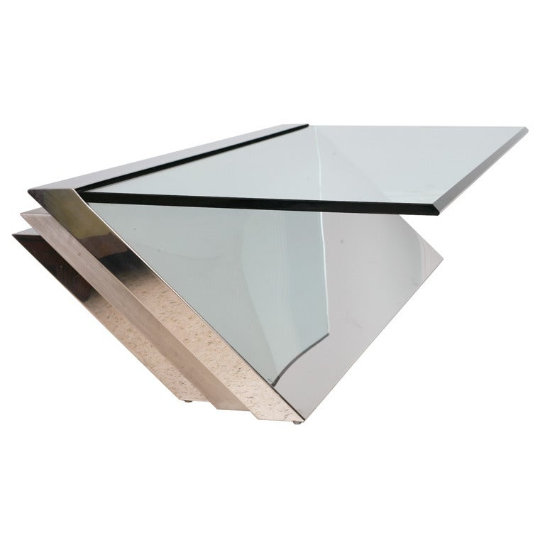 Brushed Aluminum Coffee Table: A Breuton, Glass, Polished And Brushed Chrome Low Table At