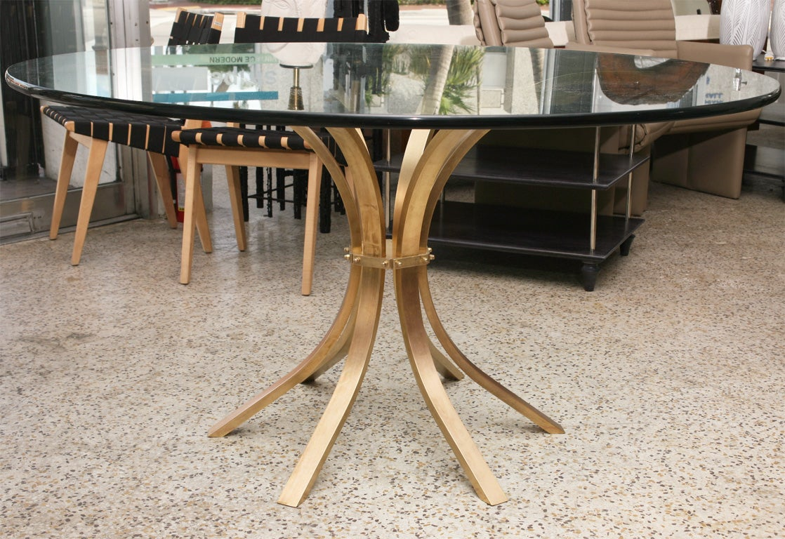 60's solid brass center/dining table at 1stdibs