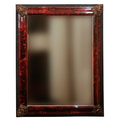 A Very Fine 19th Century Mercury Mirror Framed in Red Tortoise