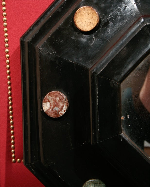 Wood 19th Century Octagonal Ebonized and Marble Medallion Mirror For Sale