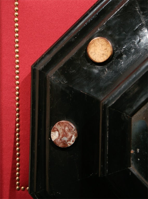 19th Century Octagonal Ebonized and Marble Medallion Mirror For Sale 1