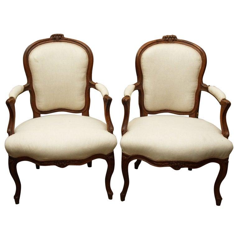 Pair Walnut Louis XV Fauteuils