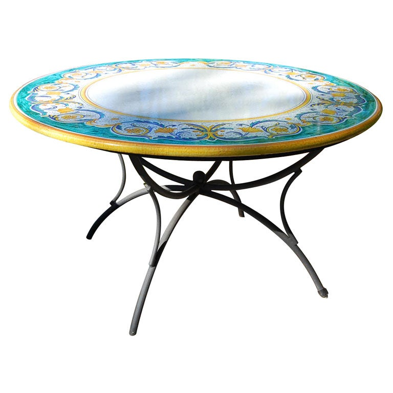 Round Hand Painted Deruta Quot Rafaello Quot Dining Table At 1stdibs