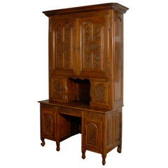 Late 18th Century French Carved Walnut Bookcase Secretaire from the Rhône Valley