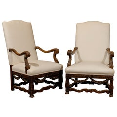 Pair of French Louis XIV Style Walnut Tall Back Upholstered Fauteuils, 1860s