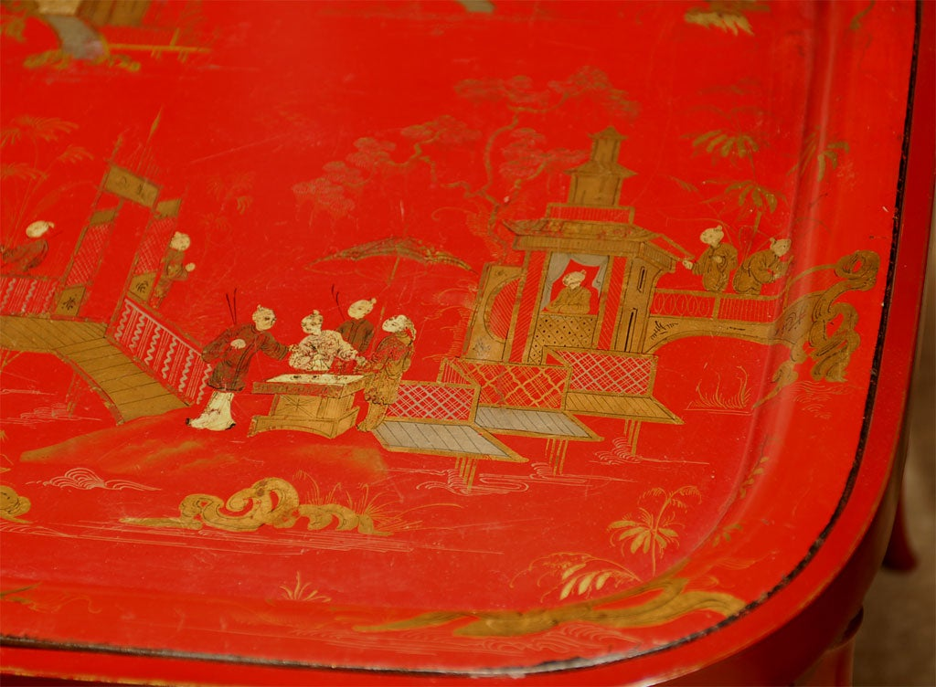 19th Century 19TH C. RED CHINOISERIE TRAY  TABLE For Sale