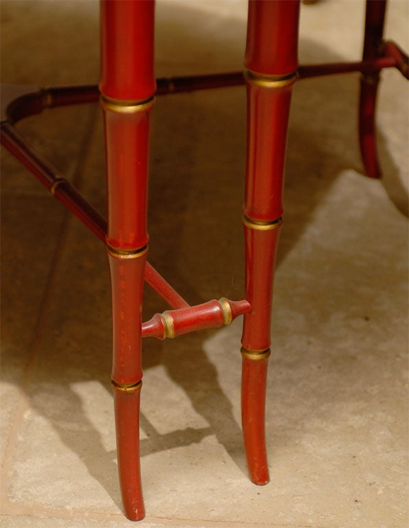 19TH C. RED CHINOISERIE TRAY  TABLE For Sale 1
