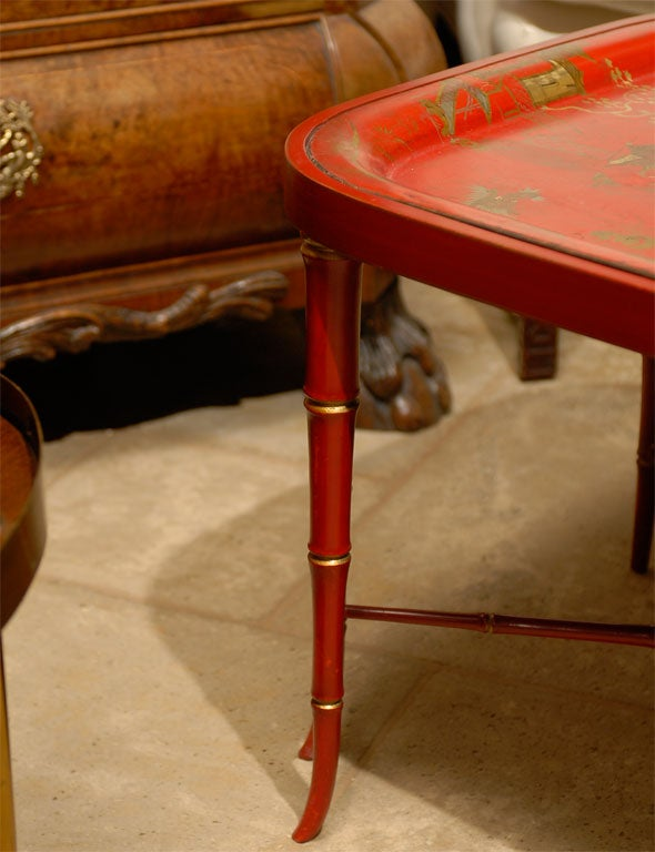 19TH C. RED CHINOISERIE TRAY  TABLE For Sale 2