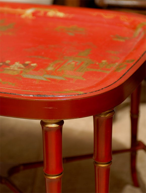 19TH C. RED CHINOISERIE TRAY  TABLE For Sale 3