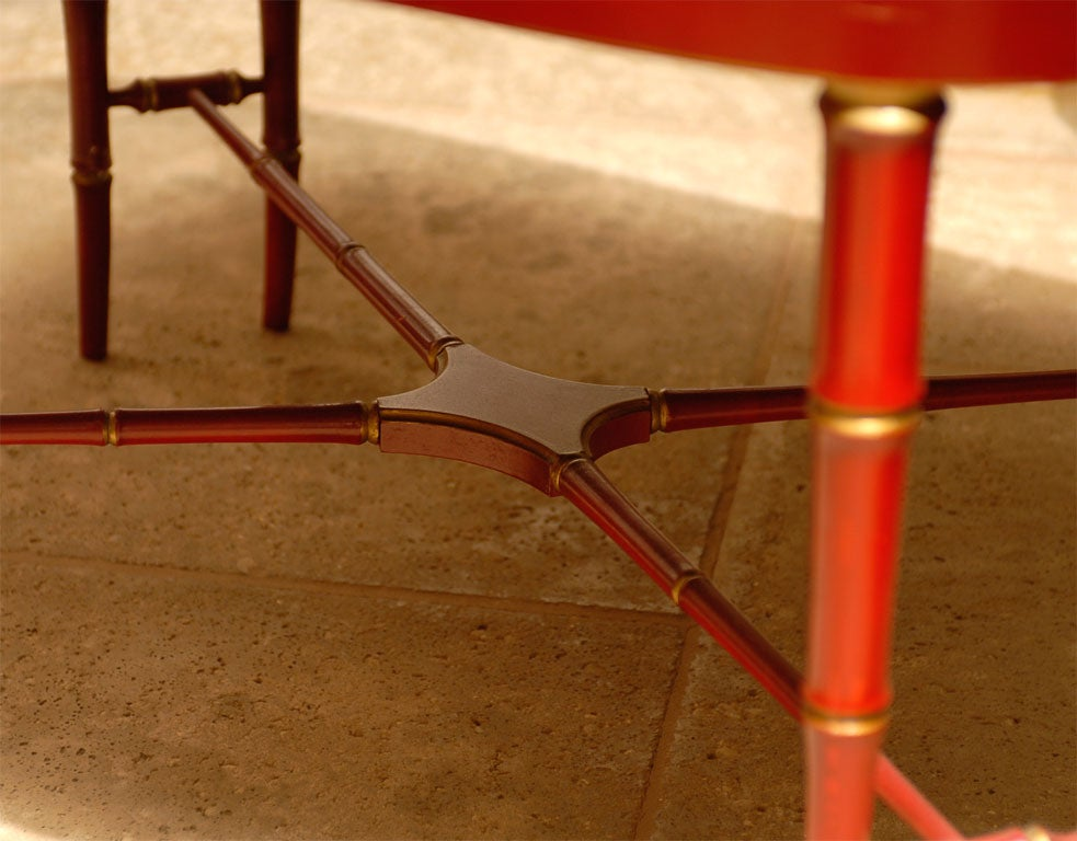 19TH C. RED CHINOISERIE TRAY  TABLE For Sale 4