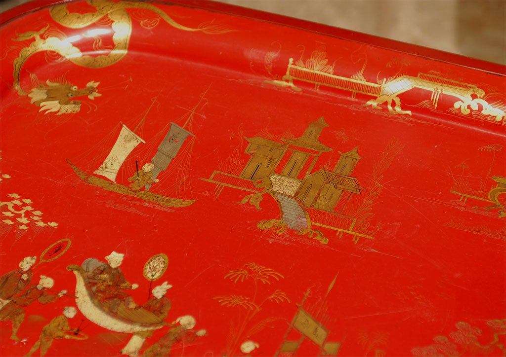 19TH C. RED CHINOISERIE TRAY  TABLE For Sale 5