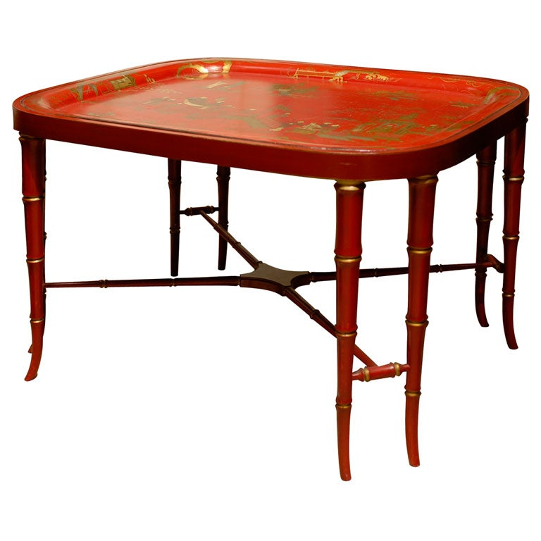 19TH C. RED CHINOISERIE TRAY  TABLE For Sale