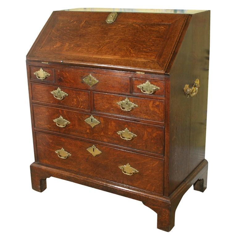 George II Period Oak Slant Front Desk with Walnut Inlays. English, circa 1740
