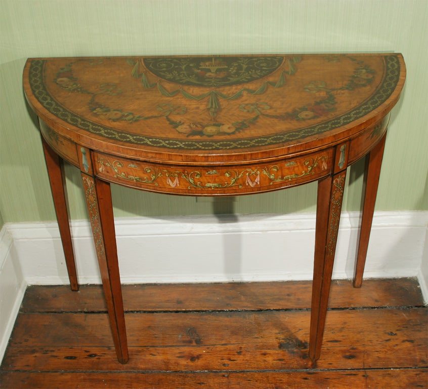 Sheraton Period Painted Satinwood Demilune Card Table. English, Circa 1780 2
