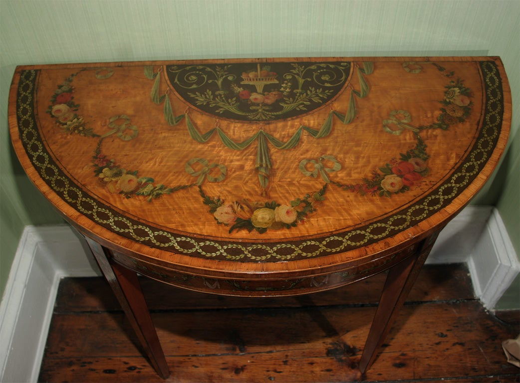 Sheraton Period Painted Satinwood Demilune Card Table. English, Circa 1780 3