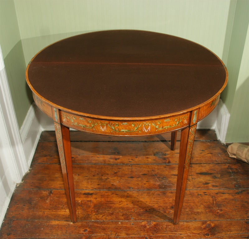 Sheraton Period Painted Satinwood Demilune Card Table. English, Circa 1780 4