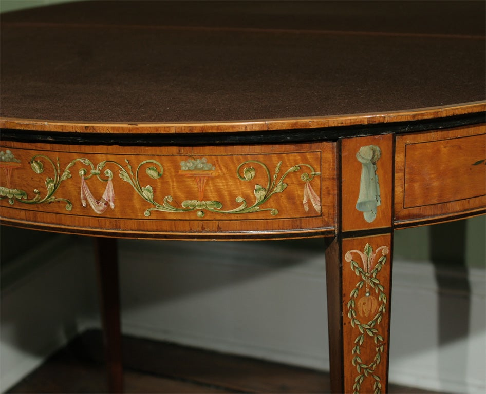 Sheraton Period Painted Satinwood Demilune Card Table. English, Circa 1780 6